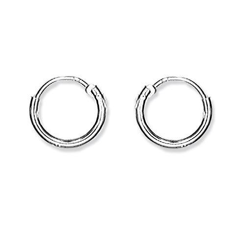 Schmuck-Pur Echt Silber Ohrringe Draht-Creolen 9 mm / 1 mm