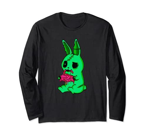 Disfraz de conejito de zombie, regalo de conejo muer Manga Larga