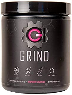 Grind - Pre Workout Energy w/Joint Support & BCAA Recovery (Raspberry Lemonade) Powder (30 Servings)