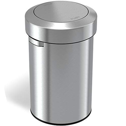 iTouchless Titan 17 Gallon Swing Open Trash Can, Stainless Steel Self-Balance Flip Top Lid Commercial Grade 64 Liter Garbage Can is Perfect for Business, Restaurant, Office and Kitchen