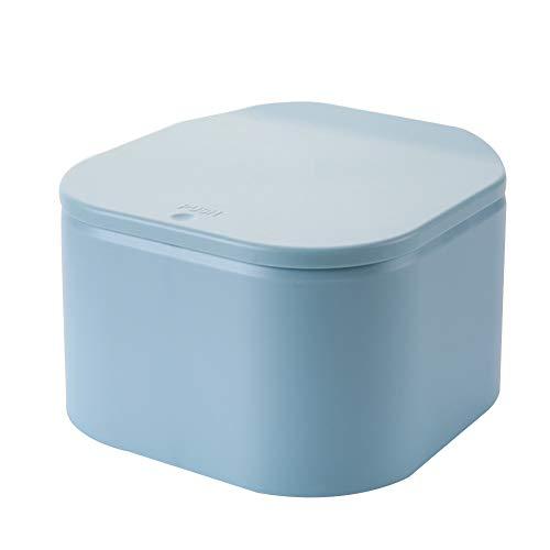 Cttiuliljt Desktop-Mini Trash Can Press-on Waste Müllkorb for Office Tabelle Desktop-Push-Typ Abdeckung ist Nordic kleinen Mülleimer (Color : Blue)
