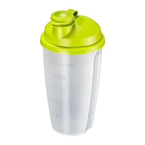 Westmark Shaker per condimenti con scala graduata, Disco rimovibile e bocchetta richiudibile, Capacità: 0,5 l, Plastica, Senza BPA, Mixery, Colore: Traslucido/Verde, 2435227A