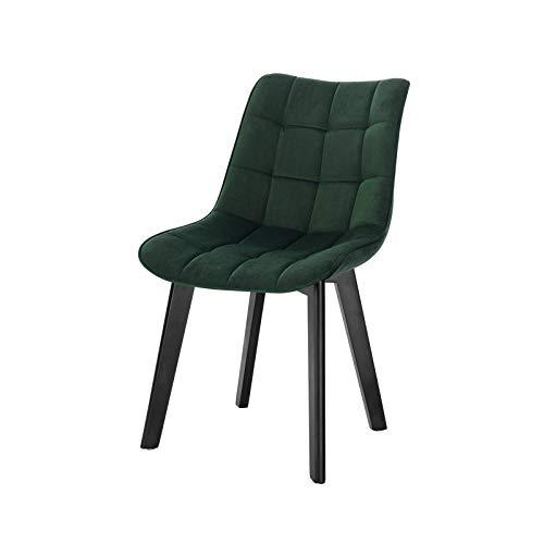 Lestarain 1X Sillas de Comedor Dining Chairs Sillas Tapizadas Paquete de 1 Sillas Cocina Nórdicas Terciopelo Sillas Bar Madera Silla de Oficina Verde Oscuro