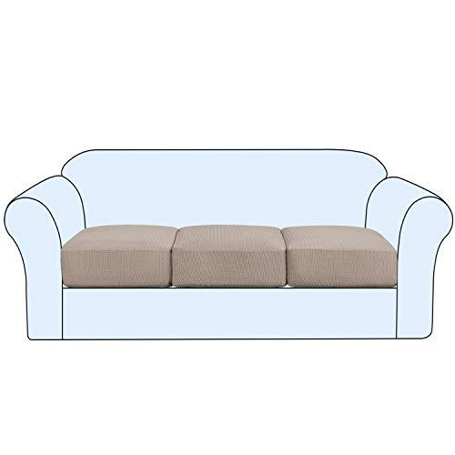 H.VERSAILTEX - Copricuscino elasticizzato, per divano a 1, 2 o 3 posti, morbida flessibilità con fondo elastico, lavabile in lavatrice, sabbia, Sofa Cushion