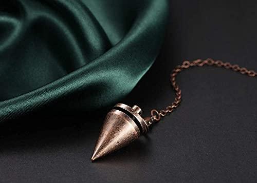 HUIQ Péndulo de Cobre Dowsing Metal Adivinación Rosa Oro Curación Energía Punto Espiritual Punto Péndulo Cadena para Dowser Scrying Wicca-Bronce