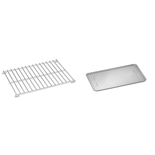 Weber 6564 Supporto per arrosti per Barbecue Q2000/3000, Silver & 6562 Schermi per arrosto, Alluminio