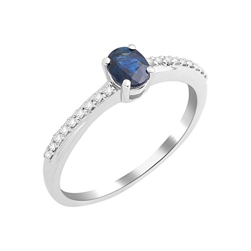 Miore Damen Solitär-Ring, 9 Karat Weißgold, Saphir, Größe 52, MKW9074R2