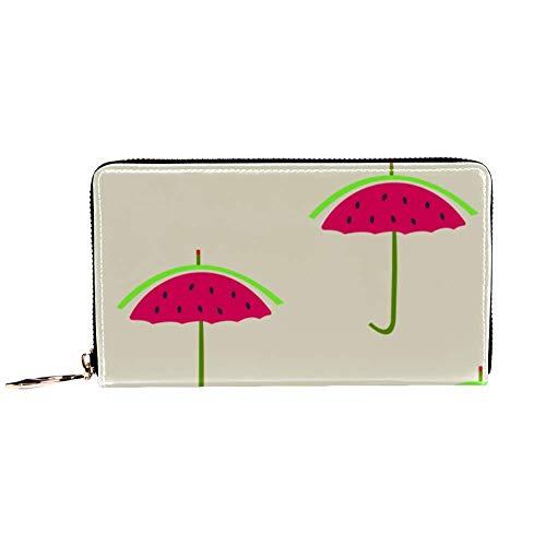 XCNGG Damen Reißverschluss um Brieftasche und Telefon Clutch, Wassermelone Regenschirm Print, Reisetasche Leder Clutch Bag Kartenhalter Organizer Wristlets Wallets