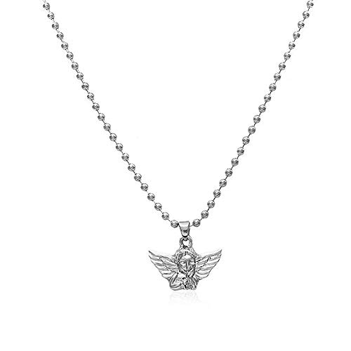 YOOE Angel Baby Wings Pendant Necklace.Cupid Love God Choker Egirl Necklace Infinity Guardian Infant Cherub Neutral Necklace for Girl Teens (Silver)
