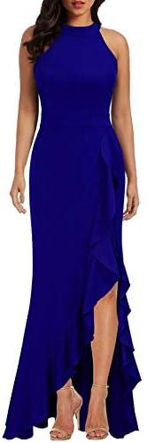 WOOSEA Women s High Neck Split Bodycon Mermaid Evening Cocktail Long Dress Royal Blue product image