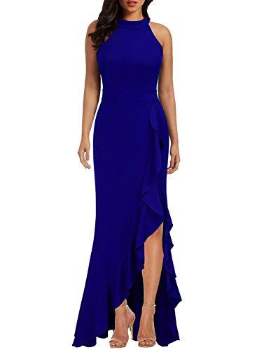 【25% OFF】 - WOOSEA Women's High Neck Split Bodycon Mermaid Evening Cocktail Long Dress Royal Blue