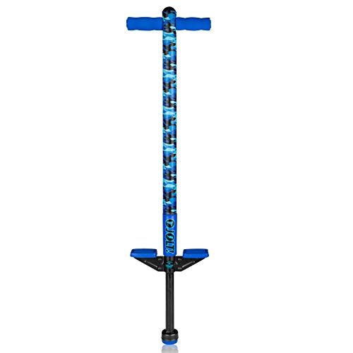 Flybar Foam Jolt Pogo Stick for Kids Age 5 and Up, Between 40 to 80 Pounds, Beginners Kids Pogo Stick for Boys and Girls (Blue Camo)