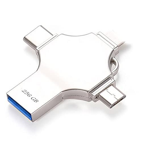 Gosgoly Chiavetta USB 256GB per Android Type C 4-in-1 OTG USB 3.0 Flash Drive Memoria Stick Espansione Memoria Compatibile OTG Android Smartphone Computer