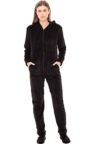 Alexander Del Rossa Women's Warm Fleece One Piece Footed Pajamas, Adult Onesie with Hood, Medium Black (A0322BLKMD)