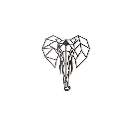 Hoagard Elephant Metal Wall Art, Elefant-Metallwandkunst 45 cm x 52 cm | Geometrische Metallwandkunst & Wanddekoration