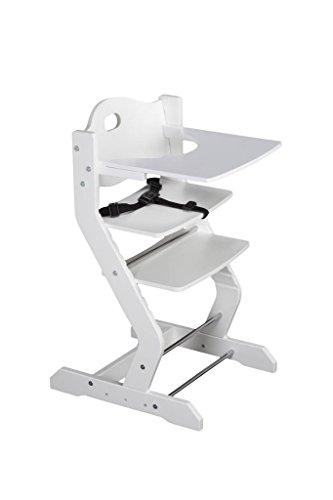 tiSsi® Hochstuhl weiß inkl. Brustbügel, Gurt und Tischplatte Buche