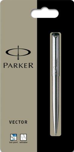 Parker Kugelschreiber Vector Edelstahl C.C. 1er Blister, Strichbreite M Schreibfarbe blau