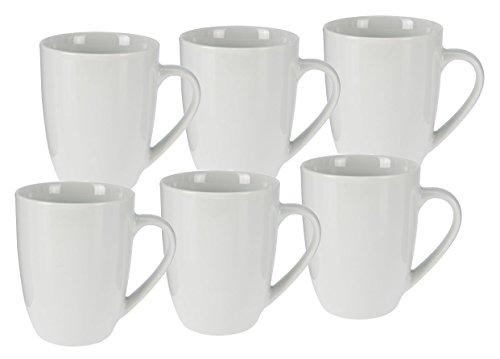 Kaffeetasse 350 ml aus Porzellan - 6er Set/weiß - Kaffeebecher Tasse Becher