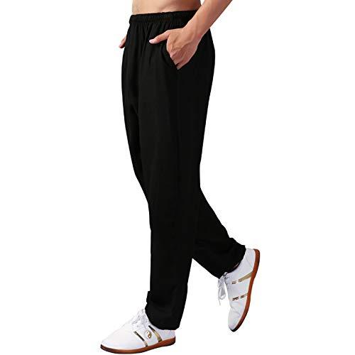 annsr Katoenen joggingbroek voor dames en heren, brede pijpen, vechtsportbroek Tai Chi Pluderbroek met tas, trekkoord en elastische tailleband