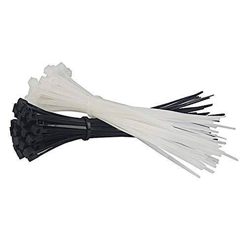 Houer 100PCS 60/120/150 / 200mm Blanco Negro Leche Cable Alambres Cremalleras Sujetacables autoblocantes Nylon para Oficina en casa, 3x150 Blanco