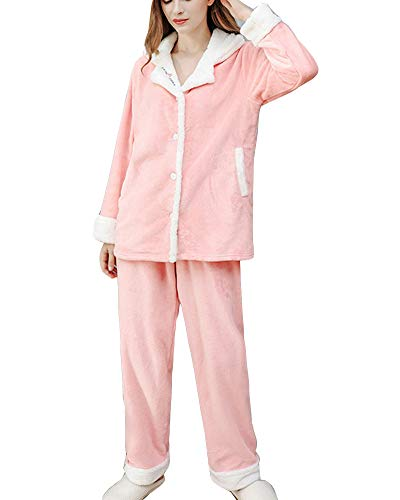Damen Herbst Winter Schlafanzug Set Zweiteiliger Pyjama Flanellanzug Warm Button-Down...