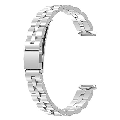 Banda de metal compatible con Fitbit-Luxe Sports Smart Watch Correa de muñeca Pulsera de bucle Reemplazo Impermeable Correa resistente al sudor Relojes para hombres mujeres pulsera sin cables