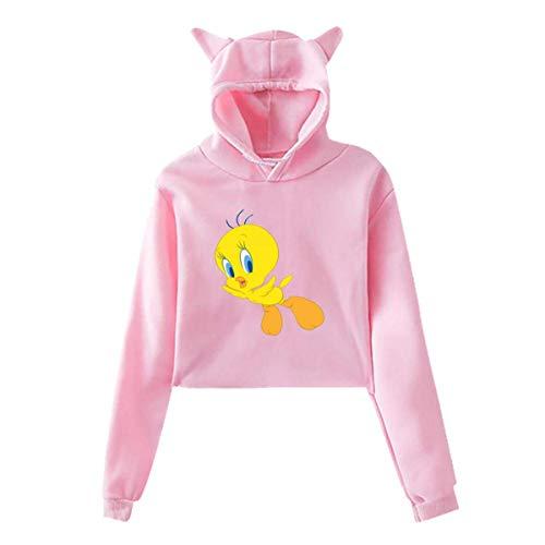 JXZO Katzenohr Crop Top Sweater Tweety in Flight Girls Woman Cat Ear Pullover Hoodie Black