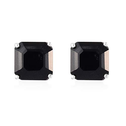 TJC Black Tourmaline Stud Earrings for Womens in 925 Sterling Silver Jewellery Gift for Girlfriend/Wife/Mother October Birthstone, TCW 4.5ct