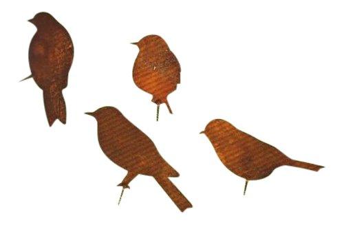 Vogel in Edelrost 4 tlg. SET mit Schraubgewinde zum Anschrauben an Bäumen