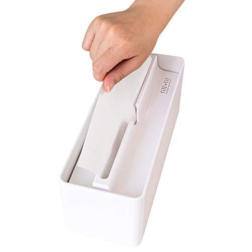 オカ(OKA) fill+fit(フィルフィット) ペーパータオルケース リップタイプ スリム ホワイト (ティッシュケース 小判)