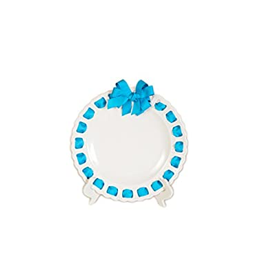 Prissy Plates 12001-145 12  Round Ceramic Ribbon Plate with Turquoise Ribbon, Large, White