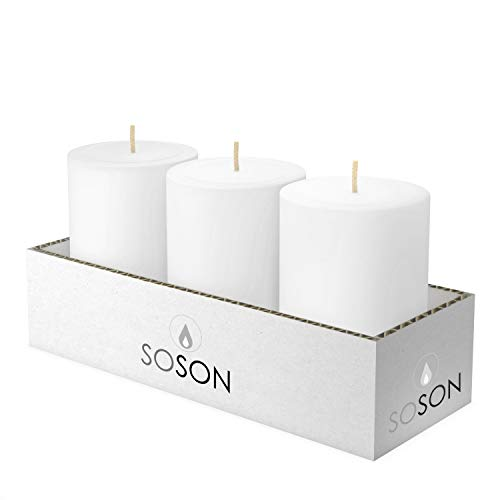 Simply Soson 3X4 Pillar Candles White Unscented Candles Long Burn Pillar Candles Pillar Candles for Home Cotton Wick Scent Free Paraffin Wax. Slow Burning 3 Pack