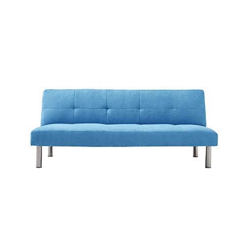 3 Seater Sofa Bed Small Corner Sofa Settee Recliner Couch with Chrome Legs Click Clack Sofa Bed For Living Room Guest Room Spare Room (Blue)