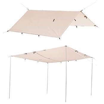 Laxllent Bâche Anti-Pluie, Camping Tarp 3m x 3m, Housse de Pluie Bâche Portable Léger Etanche, Tarp Rain Fly Tente Imperméable Au Sol Anti-UV Abri pour Randonnée, Camping