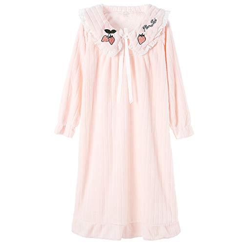 Damen Winter Pyjama Süße Erdbeere Stickerei Nachtwäsche Flanell Nachthemd Prinzessin Nachthemd Nachthemd Gr. 46, rose
