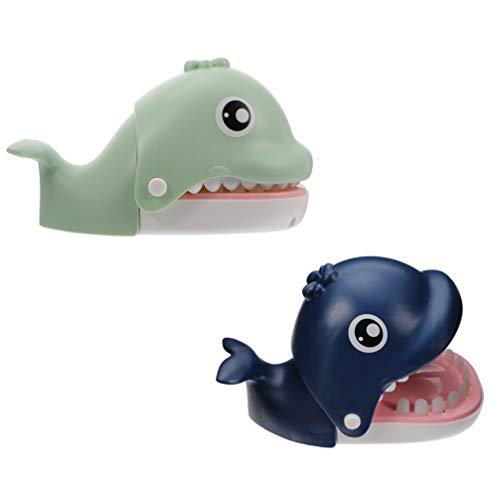 TOYANDONA 2Pcs Whale Beißen Finger Spiel Classic Zahnarzt Spiele Lustige Spielzeug Whale Fisch Zähne Spielzeug für Kinder Party Favors