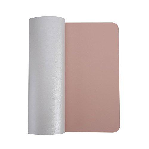 HTDirect - Alfombrilla de escritorio de piel sintética extendida, impermeable, con superficie lisa, tamaño pequeño, medio/grande, ideal para la oficina y el hogar (120 x 60 cm), color rosa y plateado