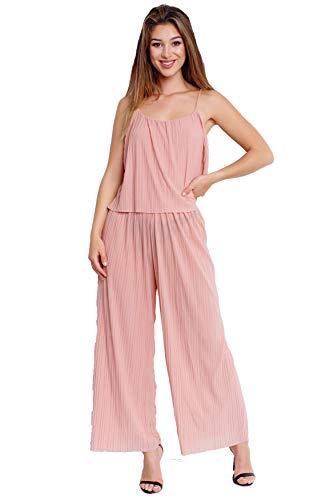 EGOMAXX Damen Jumpsuit plissee Overall Anzug Einteiler Hosenanzug Chiffon, Farben:Rosa, Größe:L-XL