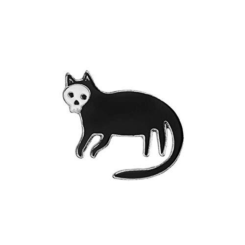 Vektenxi Revers Jacke Abzeichen Emaille Schädel Katze Brosche Denim Schmuck Dekor Silber langlebig und nützlich