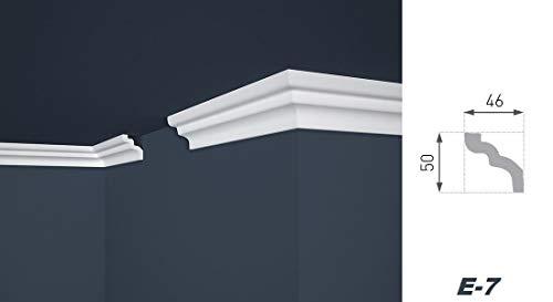 Stuckleisten aus Styropor - riesige Auswahl, leichte und stabile Profile für Decken-/ und Wandübergang modern weiß dekorativ XPS - 10 Meter 46 x 50 mm E-7