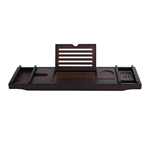Decopatent Badplank - Uitschuifbaar 75 -> 110 Cm - Verstelbaar Bamboe Badrekje voor in bad - Boekenhouder - Tablethouder - Bruin