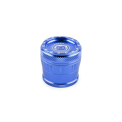 Green Monkey Herb Grinder Blue - 50mm - 4 Piece Tamarin Bolt Series Spice Herb Grinder - Magnetic Lid Screen Catcher - Spice Mill - Spice Grinder - Metal Grinder