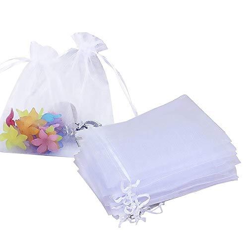 Ealicere 100 Piezas 10x15cm Bolsas de Organza de Regalo,Blanco Bolsas para Joyas Bolsas de Regalo Bolsitas, Bolsas de Tul con Cordón de Organza de Boda, para Regalos Joyas Caramelo para Boda Favores