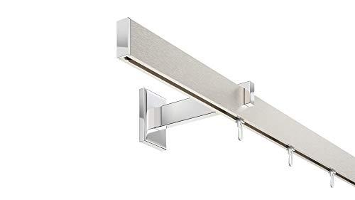 DécoProfi Innenlauf Gardinenstangen Set rechteckig Long [Komplettstilgarnitur] – einläufig - 200 cm lang » Aluminium Silber eloxiert gebürstet/verchromt « Vorhangstange - Gardinenstange