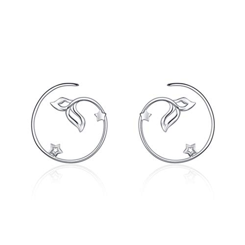 ONEFINITY Pull Through Earrings Sterling Silver Mermaid Fish Tail Spiral Pull Through Hoop Earrings for Women