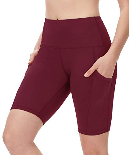 DILANNI Women's Yoga Shorts with Pockets- High Waisted Compression Workout Shorts for Women - Girls Running Shorts with Tummy Control for Athletic Biker Wine Red