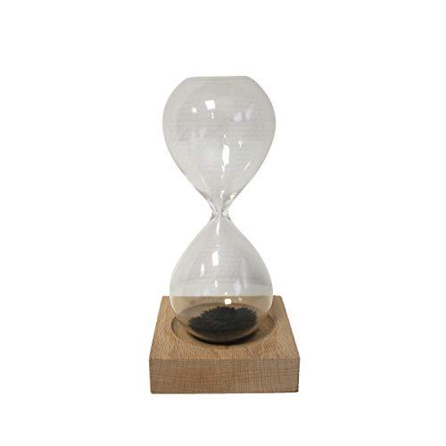 Projects Sanduhr 'Break' aus Glas - magnetische Sanduhr mit Ferritpulver- Denksport & Dekoartikel - universell einsetzbares Hourglass mit Holzsockel - Geschenk für Erwachsene & Kinder