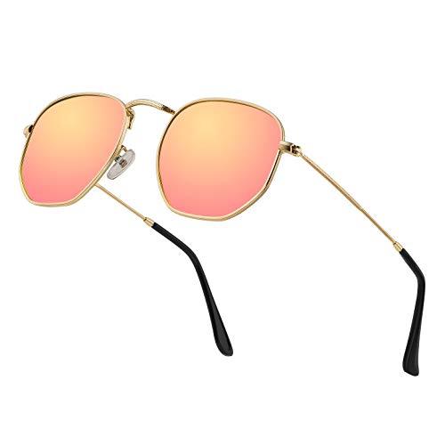 Hipster Hexagonal Polarized Sunglasses Men Women Geometric Square Small Vintage Metal Frame Retro Shade Glasses
