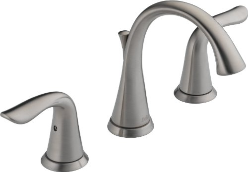 Delta Faucet Lahara Widespread Bathroom Faucet Brushed Nickel, Bathroom Faucet 3 Hole, Diamond Seal Technology, Metal Drain Assembly, Stainless 3538-SSMPU-DST