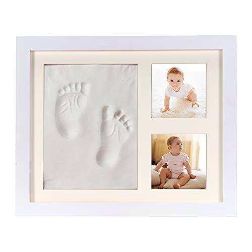 Sapphome Bambino, Cornice Baby Art-Kit Impronte Neonato Una Battesimo Regalo Perfetto Bimbo, Bianca, Large